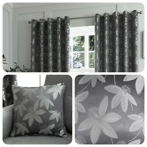 Curtina-Grey-Eyelet-Curtains-ROMOLO-Jacquard-Bedroom-Living-Room-amp-Cushions