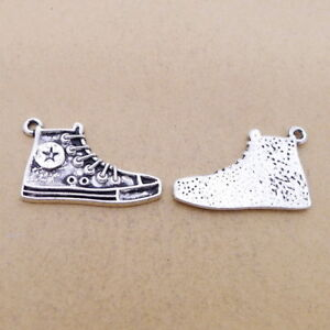 5pcs Charms 3D Skating Shoes Tibetan Silver Beads Pendant DIY Necklace 17*20mm