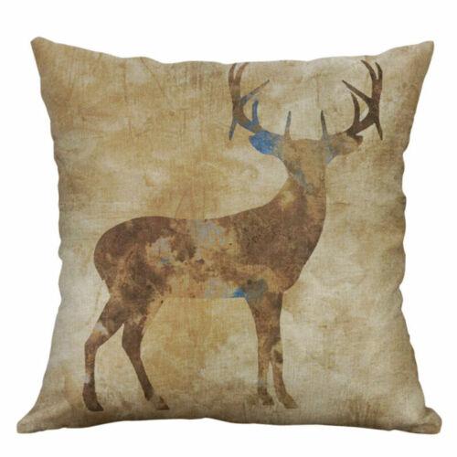 Home Pillowcase Decorative Deer Bear 18/'/' Cover Pillow Cushion Cotton Linen Case