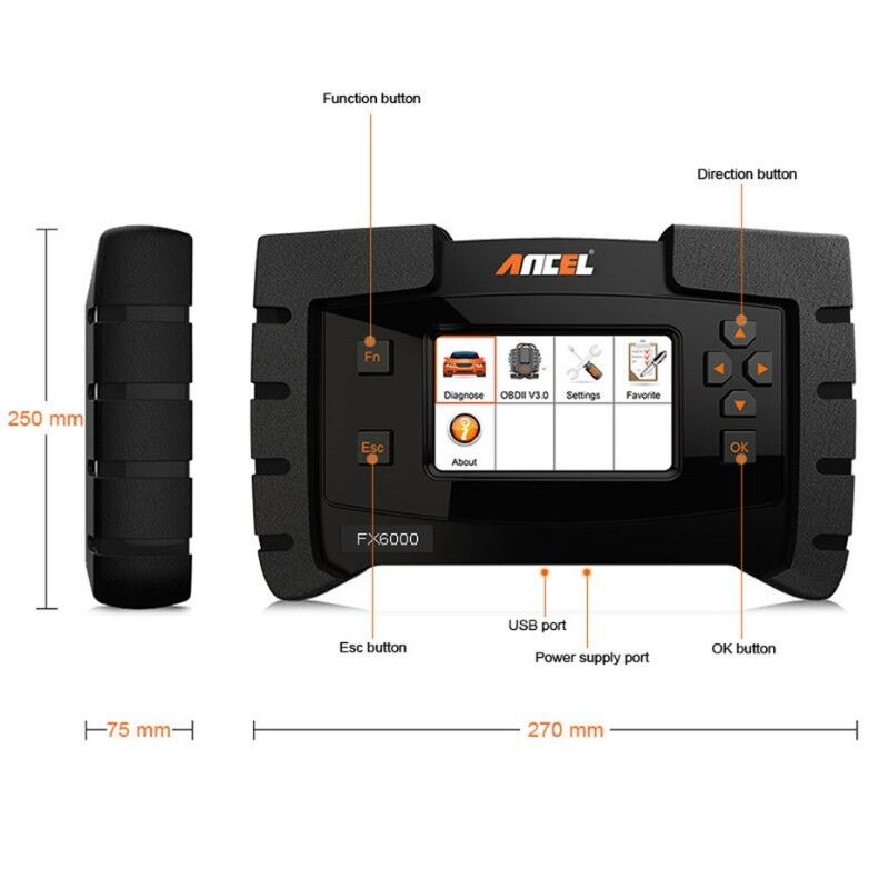 Ancel FX6000 All System Car Diagnostic Tool Full Package ABS