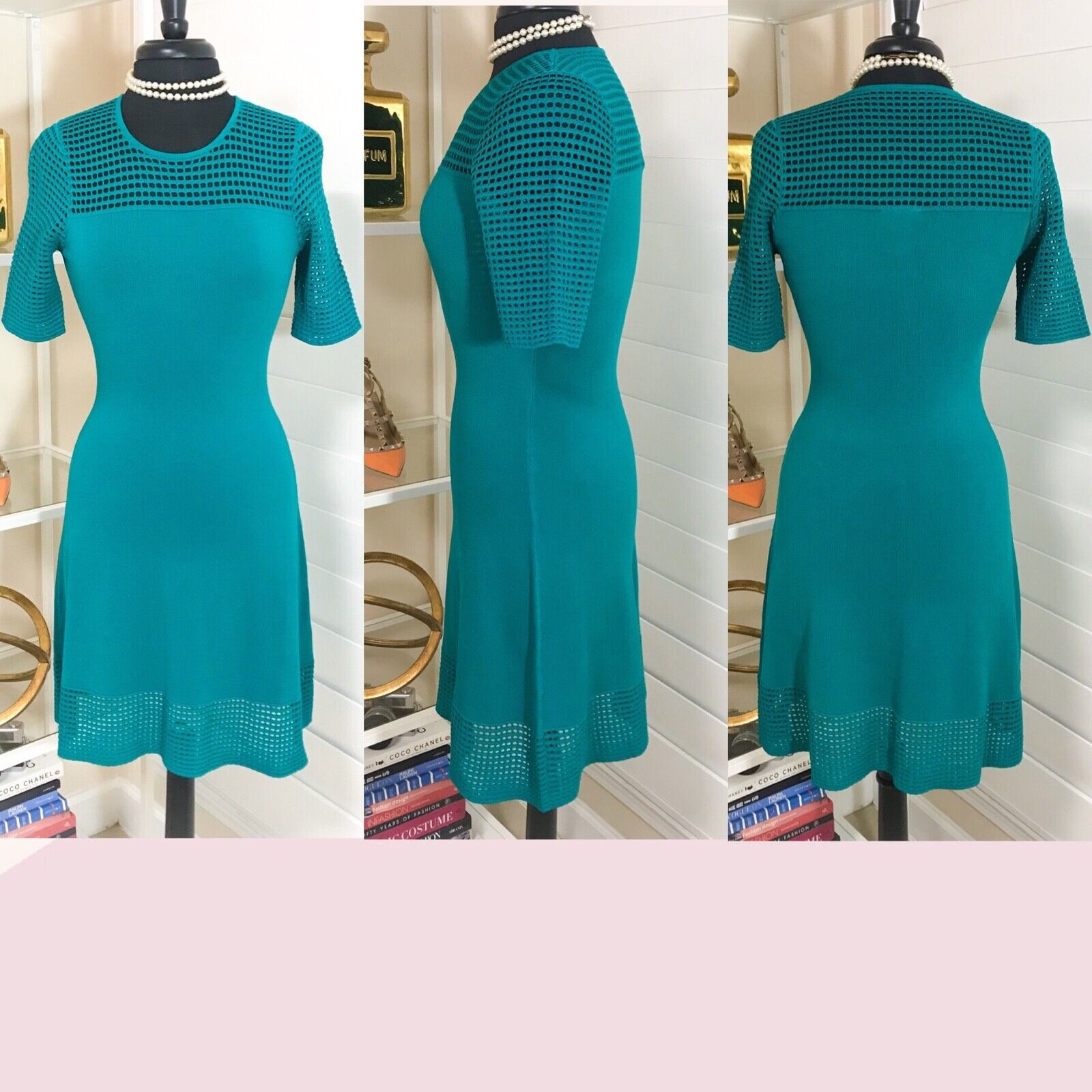 Pre-owned Women's NANETTE Nanette Lepore   Open Knit Trim Dress, Teal, Sz. Small