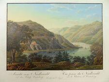 BINGEN RHEIN NIEDERWALD BURG RHEINSTEIN TRECHTINGSHAUSEN AQUATINTA 1830 JÃœGEL