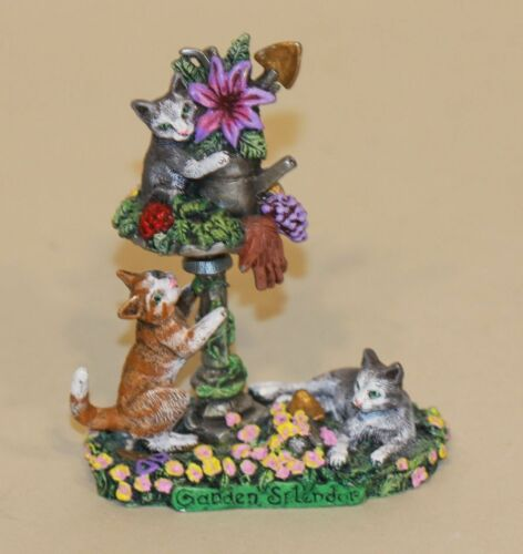 Pewter Image Figurine Garden Splendor Cats Watering Can Spring Flowers Easter