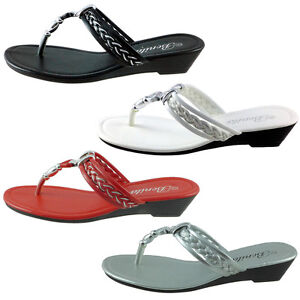 6b2b7700b59856 New Womens Sandals Wedge Shoes Low Heels Flip Flops Thong BABY-103 ...
