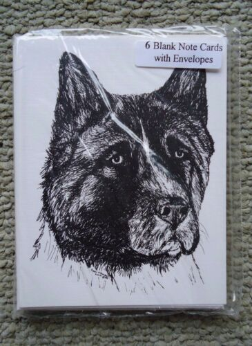 Akita Dog 18 Blank Notecards with Linen Style Envelopes New