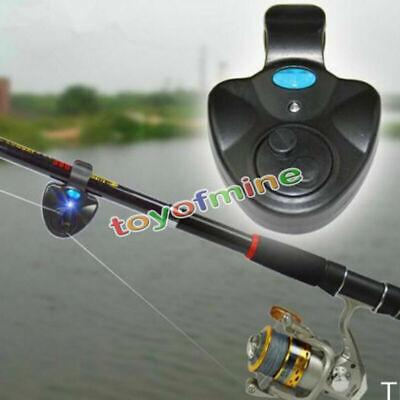 Mini Electronic Fish Bite Finder Alarm LED Light Bell Clip On Fishing Rod Black