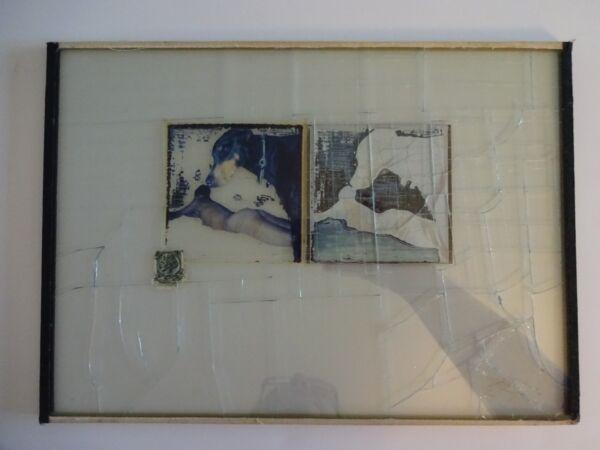 EnéRgico Jeffrey Rubias Biselado Cristal Foto Collage / Hombre & Perro 1983