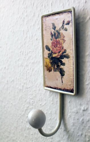 Rosen Kleiderhaken Handtuchhaken Haken Metall Porzellan Rose  Antik F02