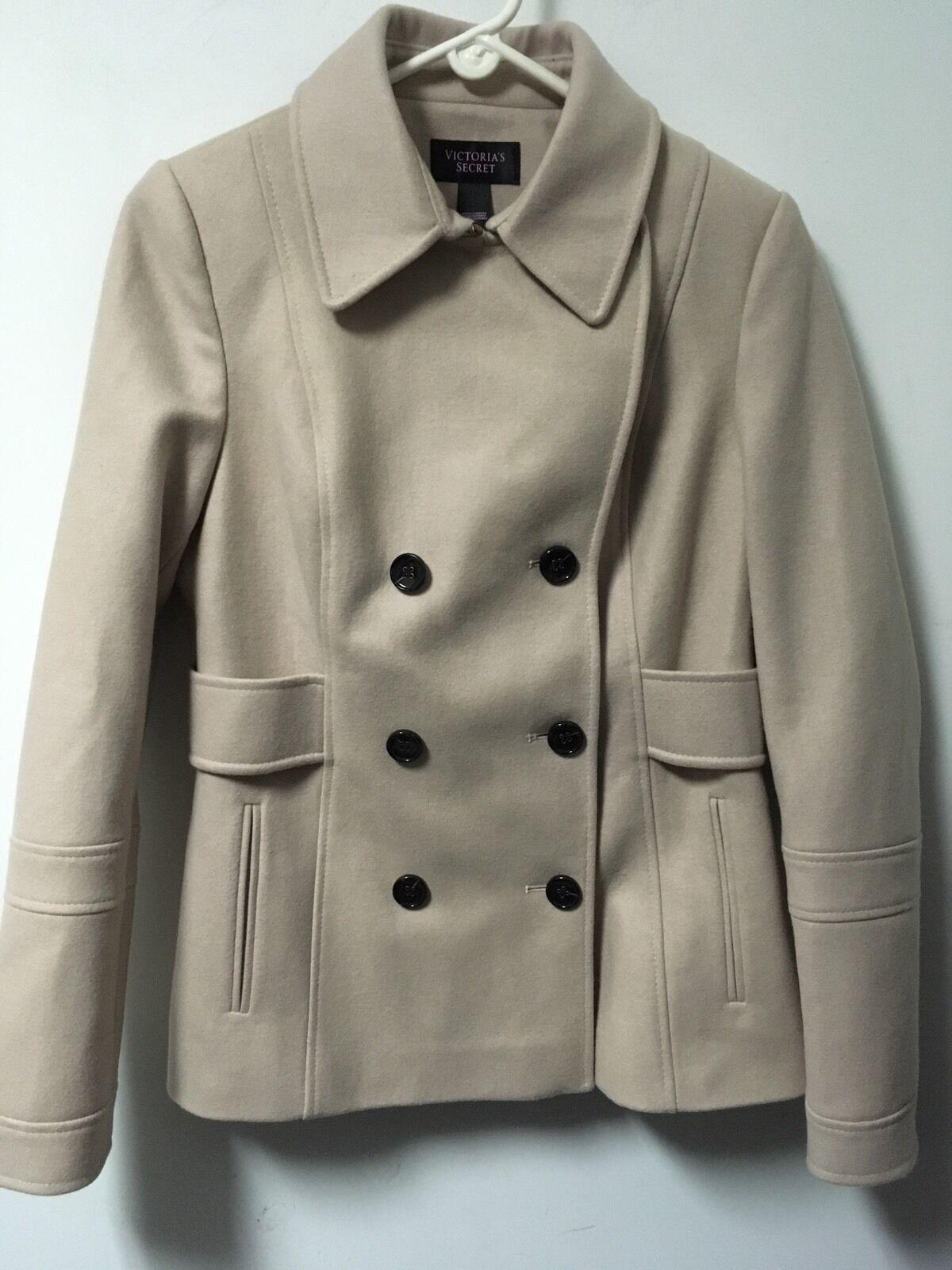 NWOT Victoria's Secret Wool Polyester Viscose Pea Coat Size Size Size 10 Beige d623e8