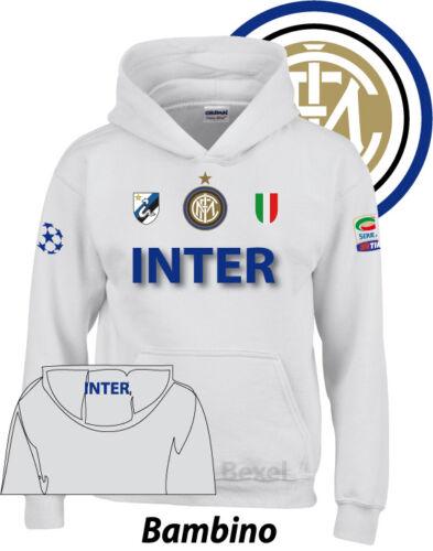 Felpa Bambino Hoddie Printed INTER 2  Serie A Cotone Cappuccio 2 Colori