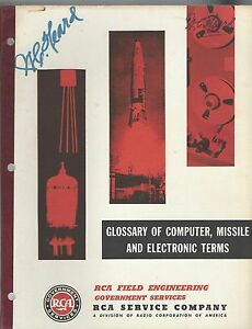 RCA 1960 FIELD ENGINEERING GLOSSARY OF TERMS COMPUTER, MISSILE & ELECTRONIC