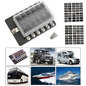 12-Voie-Voiture-Boite-Porte-Fusible-Fuse-Box-pour-Car-Boat-Marine-Bus-Van-32V