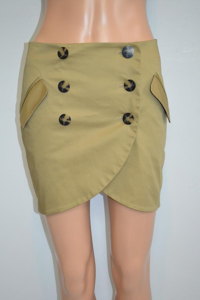 Laveer Dark gold Double-Button Front Tulip Hem Cotton MIni Skirt, Sz 0