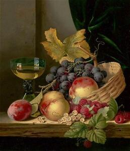 Stunning-Oil-painting-Edward-Ladell-Still-life-A-basket-of-peaches-and-grapes