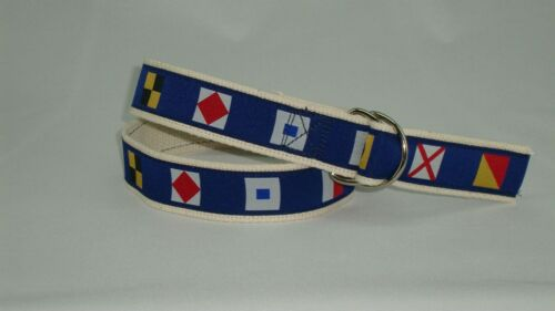 MOONSHINE Nautical Code Flags Canvas Ribbon Embroidered D-Ring Web Belt NWT
