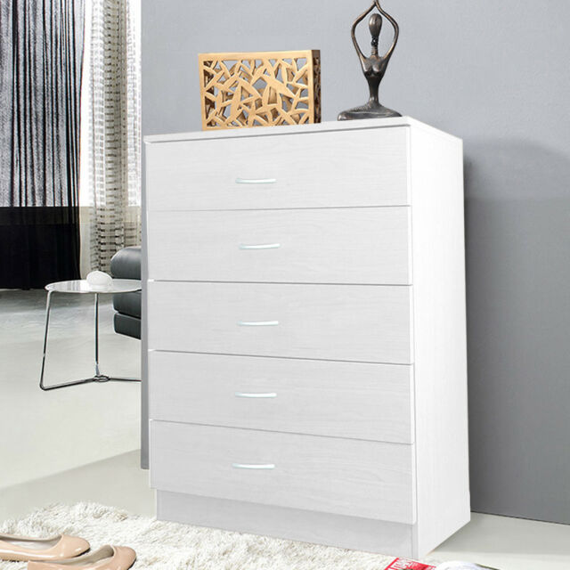 Wide Chest of 5 Drawers Cabinet Bedside Draws Home Furniture Storage White Wood