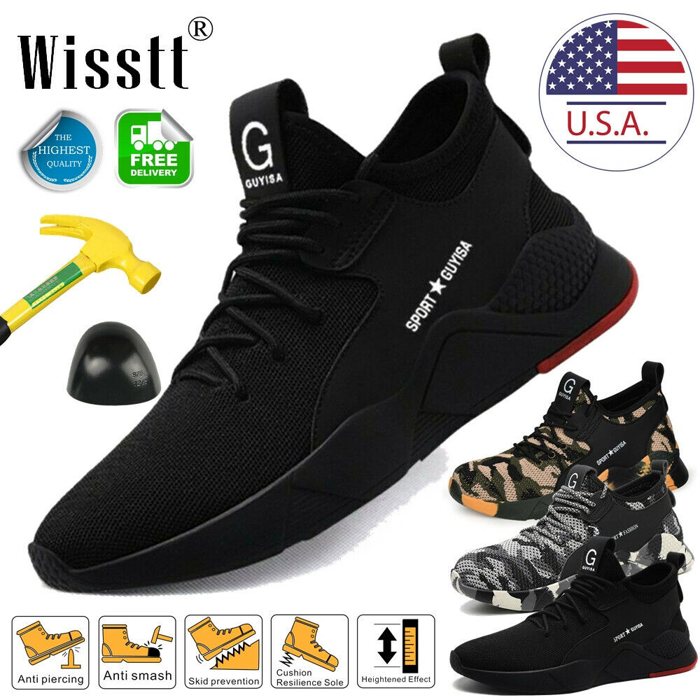 US Men Safety Shoes Indestructible Steel Toe Work Boots Bulletproof Hiking Sport