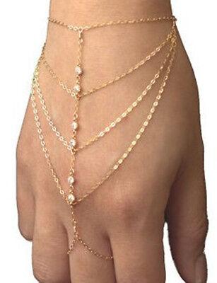 Celebrity Multi Chain Tassel Bracelet Bangle Slave Finger Ring Hand Harness Gold
