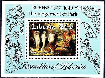 """Liberia 1985 Rubens """"judgement Of Paris"""" Greek Mythology Painting Art Nude Mnh Vivid And Great In Style"""
