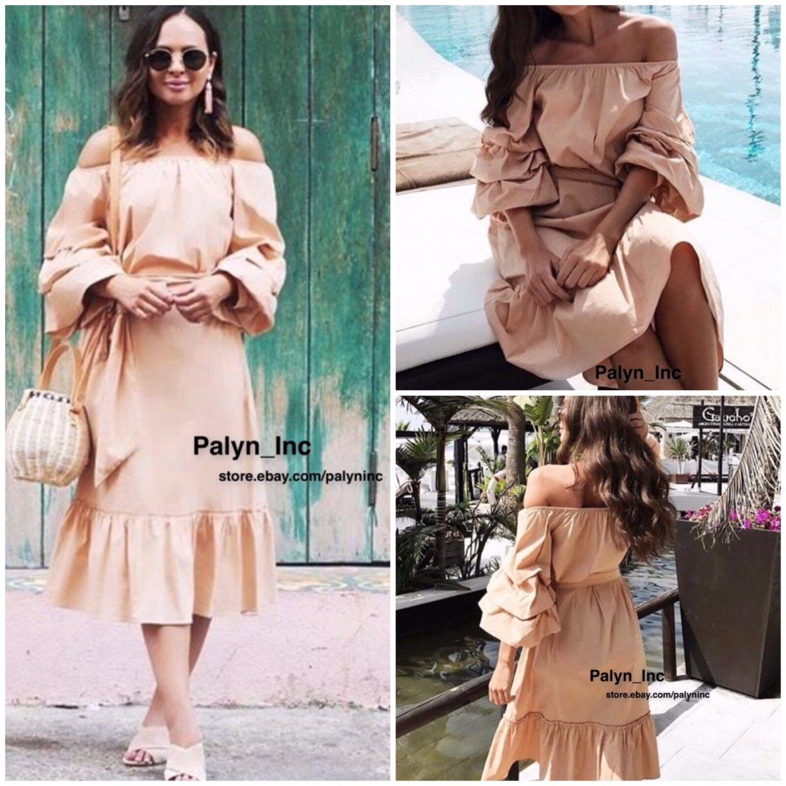 Nwt Zara Ss17 Hautfarben Schulterfrei Popelin Midi Kleid Ref.4437 080 _ S M L