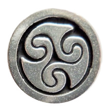 Celtic Spiral Triskele Pewter Pin Badge - Hand Made in Cornwall