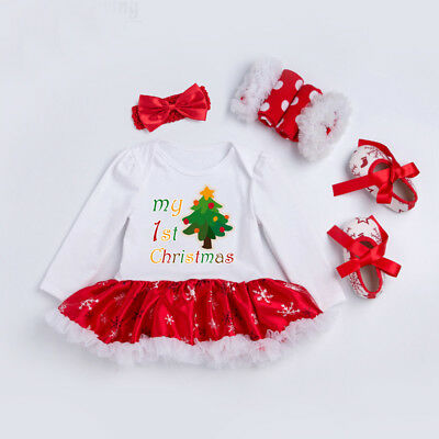 My First Christmas.Newborn Baby Girl My First Christmas Santa Romper Tutu Dress Outfits Clothes Set Ebay