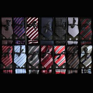 Men-039-s-Fashion-100-Silk-Neckties-Tie-Cufflinks-amp-Handkerchief-Set-Stripes-Dot