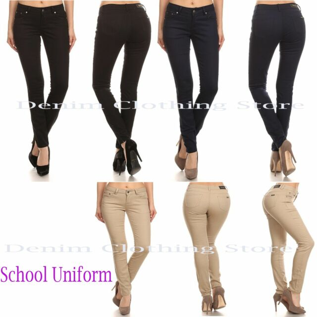 D.Rock Women Girl School Work Uniform Navy Khaki Black Cotton Slim Skinny Pants