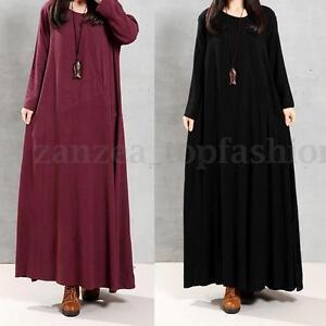 ZANZEN-S-5XL-Plus-Womens-Vintage-Crew-Neck-Cotton-Kaftan-A-Line-Long-Maxi-Dress