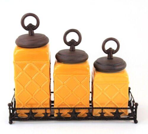 FREE SALT/&PEPPER SHAKER 3 Pc Mustard Sq Canister Set w// Bronze Ring Lids /& Base