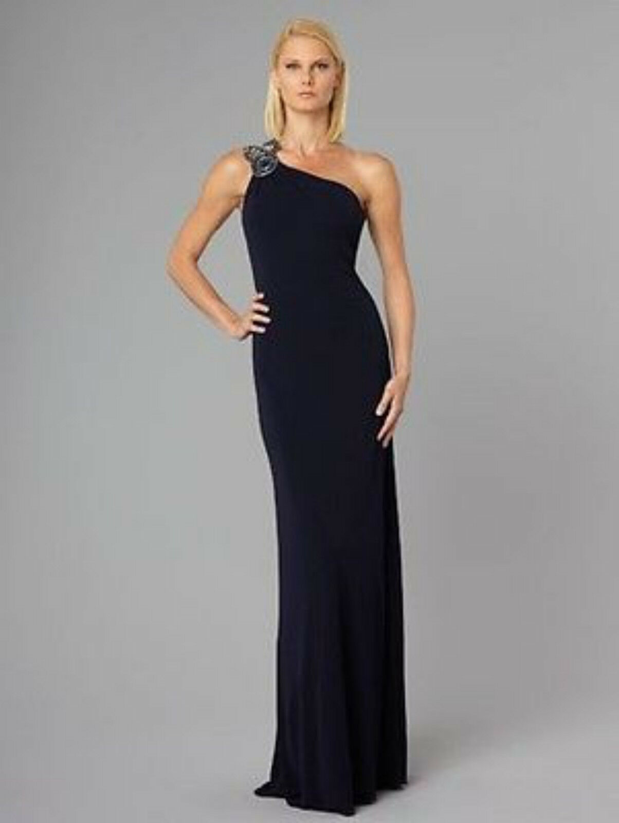 DAVID MEISTER Navy CRYSTAL JEWELED BEADED ONE SHOULDER GOWN Long Maxi Dress 6