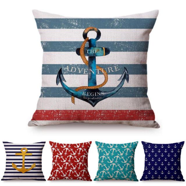 Navigation Navy Blue Golden Nautical Anchor Striped Pillow Cushion Cover