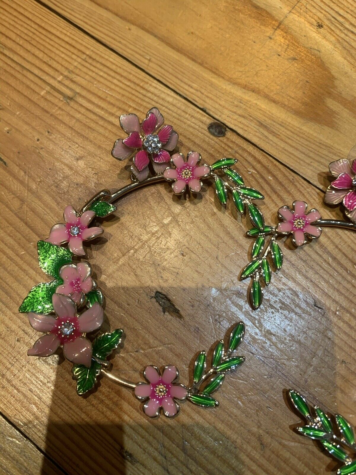 Womens Gorgeous Pink Green Floral Hoop Evenings