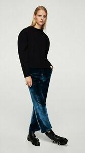 Mango-Womens-Velvet-Trousers-Pants-Blue-Size-2
