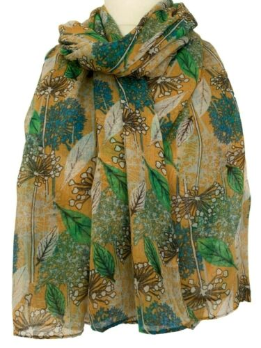 mustard Yellow Scarf Ladies Floral Wrap Teal Green Allium Flowers Shawl Flower