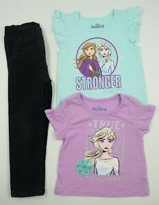 Disney Frozen II Toddler Girls 3 Piece T-Shirts Pants Outfit Set Size 4T
