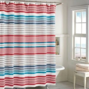 Image Is Loading Fabric Shower Curtain Beacon Stripe Nautical Beach Theme