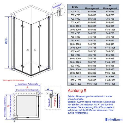 Duschwand Duschkabine Glas 80x80 90x90 80x100 120x75 Dusche Eckeinstieg Falttür