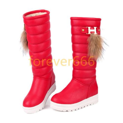 Plateau Wadenhohe Boots Damenschuhe Schneestiefel Wedge Warm Winter Stiefel