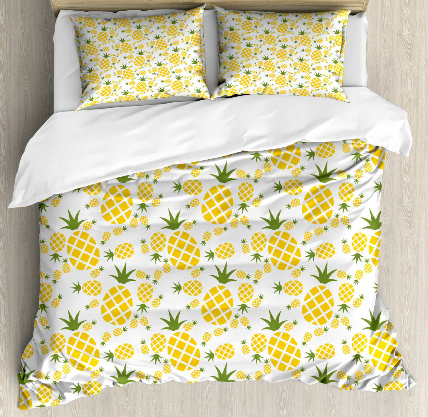 Green and Yellow Duvet Cover Set with Pillow Shams Organic Fruits Print