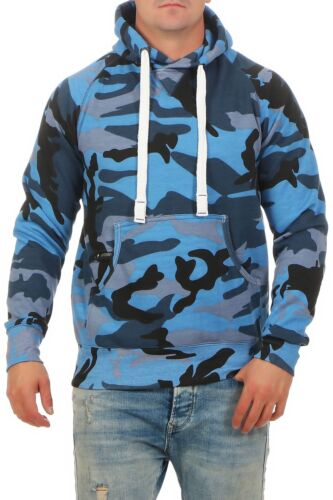 Herren Pullover blauer Camouflage Kapuzenpullover Hoodie Army Pulli Sweat Camo