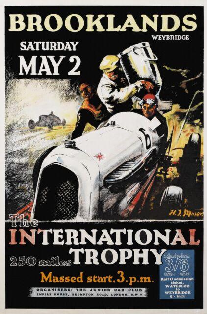 1936 Brooklands International Trophy race vintage car racing poster reprint