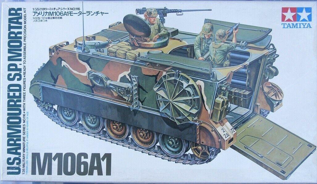 1 35 Tamiya U.S. Armored SP Mortar M106A1 with Modelkasten Trks & Tamiya Figures