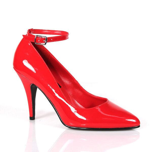 Vanity-431 elegante Pleaser Damen Lady High Heels Riemchenpumps rot Lack Gr 38