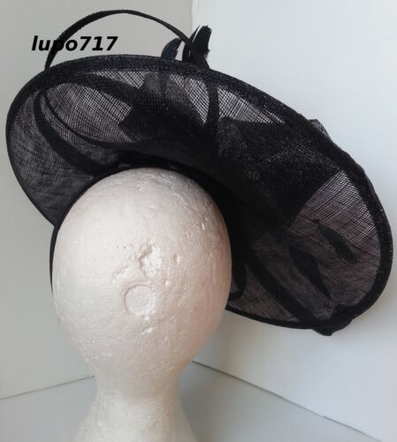 BIG BLACK SINAMAY FEATHER HAT FASCINATOR WEDDING ASCOT RACE HEN PARTY LADIES DAY