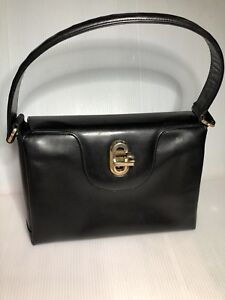 1950 s Vintage Gucci Glossy Black Leather Kelly Bag 10