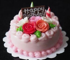 Tremendous Dollhouse Miniature Strawberry Birthday Cake Rose Top Toy Food Birthday Cards Printable Trancafe Filternl