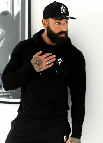 Mens Gym King Tracksuit Overhead Hoodie Jumper Hoody Black White Fashion Top