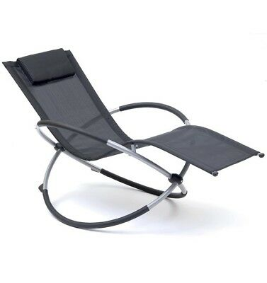 Tremendous Outdoor Rocking Garden Sun Lounger Relaxing Orbit Relaxer Chair In Black 5029936508782 Ebay Creativecarmelina Interior Chair Design Creativecarmelinacom