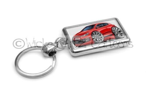 RetroArtz Cartoon Car Volkswagen VW Scirocco GT in Red Premium Metal Key Ring